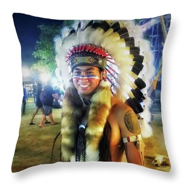 Throw Pillow featuring the photograph Indians Invade Thailand. Cowboys Too by Mr Photojimsf