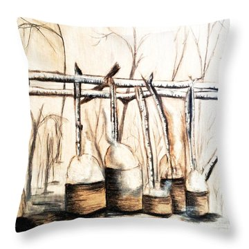 Indians Making Maple Sugar. Cass Lake. 1905  Throw Pillow by Ayasha Loya