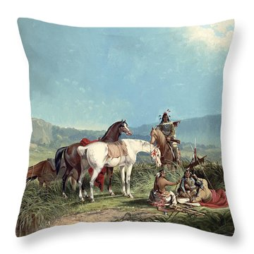 Indians Playing Cards Throw Pillow by John Mix Stanley