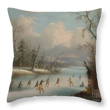 Indians Playing Lacrosse On The Ice, 1859 Throw Pillow