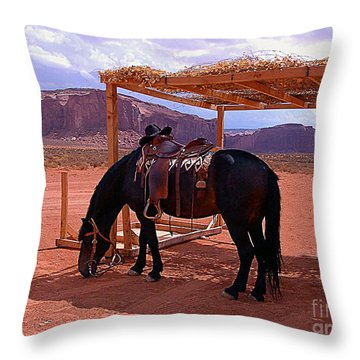Indian's Pony In Monument Valley Arizona Throw Pillow