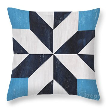 Indigo And Blue Quilt Throw Pillow