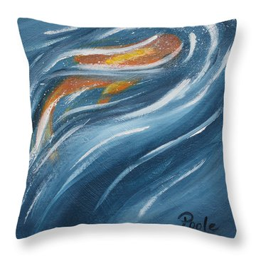 Indigo And Koi Throw Pillow