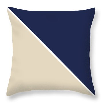 Indigo And Sand Geometric Throw Pillow by Linda Woods