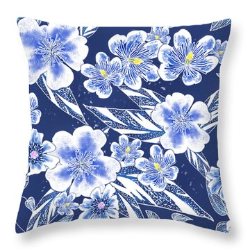 Indigo Batik Camellia Ginger - 12 Throw Pillow
