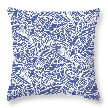 Indigo Batik Leaves Medium Throw Pillow