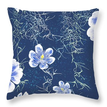 Indigo Batik - Tillandsia Throw Pillow