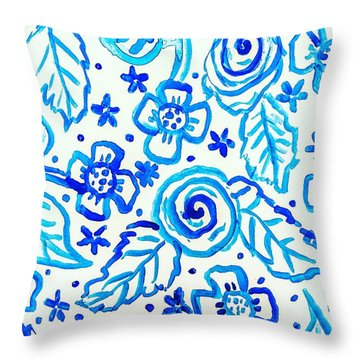Indigo Blooms Throw Pillow