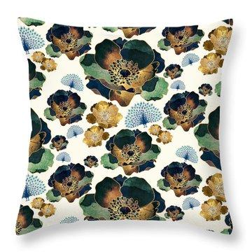 Indigo Flowers And Peacocks Throw Pillow