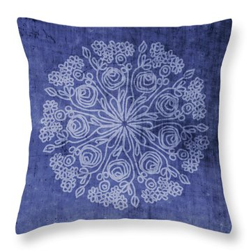 Indigo Mandala 2- Art By Linda Woods Throw Pillow