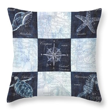 Indigo Nautical Collage Throw Pillow