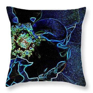 Indigo Neon Rose Throw Pillow