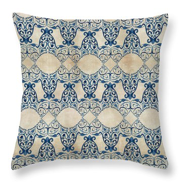 Indigo Ocean - Caribbean Inspired Watercolor Swirl Pattern Throw Pillow by Audrey Jeanne Roberts