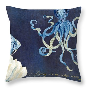 Indigo Ocean - Floating Octopus Throw Pillow by Audrey Jeanne Roberts