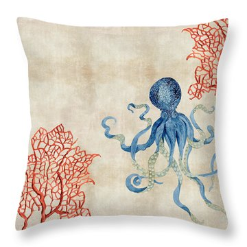 Indigo Ocean - Octopus Floating Amid Red Fan Coral Throw Pillow