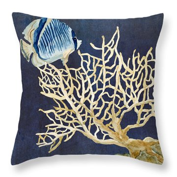 Indigo Ocean - Tan Fan Coral N Angelfish Throw Pillow