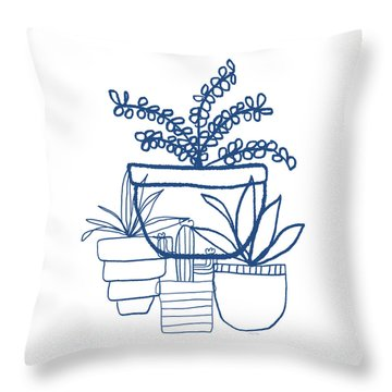 Throw Pillow featuring the mixed media Indigo Potted Succulents- Art By Linda Woods by Linda Woods