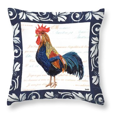 Indigo Rooster 2 Throw Pillow by Debbie DeWitt