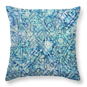Throw Pillow featuring the painting Indigo Trails Ink #14 by Sarajane Helm