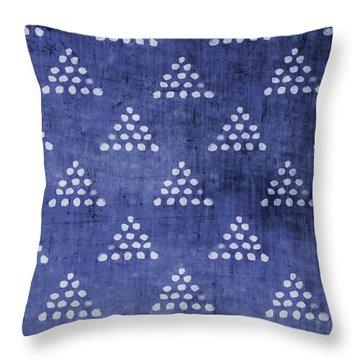 Indigo Triangles 2- Art By Linda Woods Throw Pillow