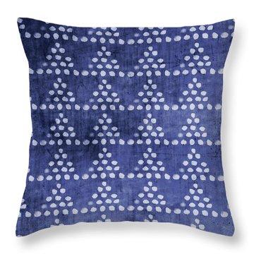 Indigo Triangles- Art By Linda Woods Throw Pillow