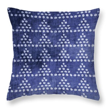 Indigo Triangles- Art By Linda Woods Throw Pillow