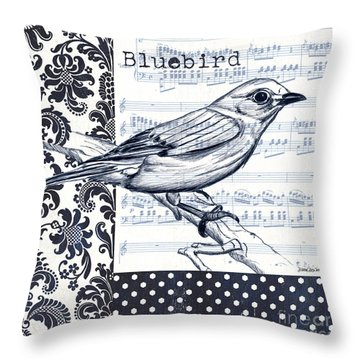 Indigo Vintage Songbird 1 Throw Pillow