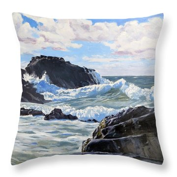 Throw Pillow featuring the painting Indomitable Rock by Lawrence Dyer