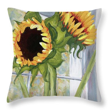 Indoor Sunflowers II Throw Pillow