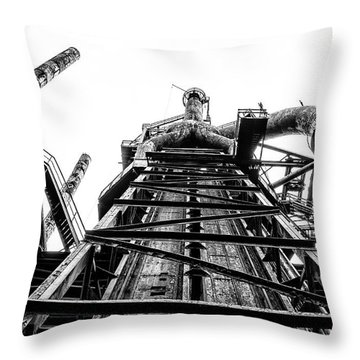 Industrial Age - Bethlehem Steel In Black And White Throw Pillow by Bill Cannon