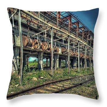 Industrial Archeology Railway Silos - Archeologia Industriale Silos Ferrovia Throw Pillow