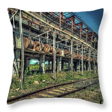 Industrial Archeology Railway Silos - Archeologia Industriale Silos Ferrovia Throw Pillow
