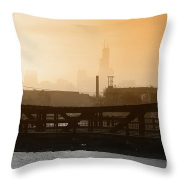 Industrial Foggy Chicago Skyline Throw Pillow