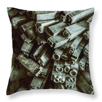 Industrial Letterpress Typeset  Throw Pillow