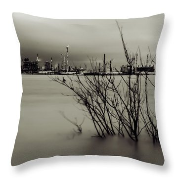 Industry On The Mississippi River, In Monochrome Throw Pillow