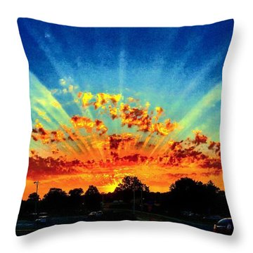 Infinite Rays From An Otherworldly Sunset Throw Pillow
