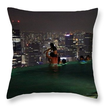 Infinity Pool At Marina Bay Sands Hotel Throw Pillow