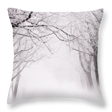 Infinity - Trees Covered With Hoar Frost On A Snowy Winter Day Throw Pillow