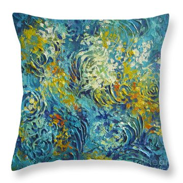 Throw Pillow featuring the painting Inflorescence 2 by Elena Oleniuc