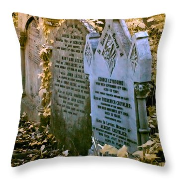 Throw Pillow featuring the photograph Infrared George Leybourne And Albert Chevalier's Gravestone by Helga Novelli