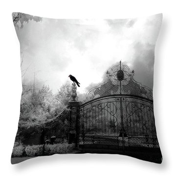 Throw Pillow featuring the photograph Infrared Gothic Raven On Gate Black And White Infrared Print - Solitude - Gothic Raven Infrared Art  by Kathy Fornal