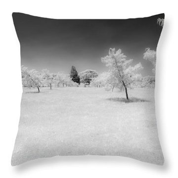 Infrared Peach Orchard Throw Pillow
