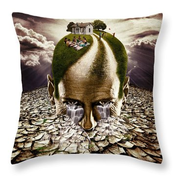Inhabited Head Throw Pillow