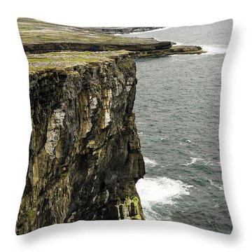 Throw Pillow featuring the photograph Inishmore Cliffs And Karst Landscape From Dun Aengus by RicardMN Photography