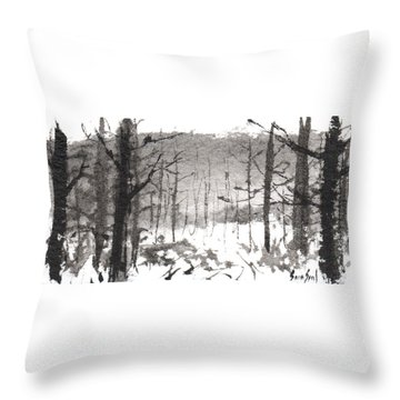 Ink Landscape 1 Throw Pillow