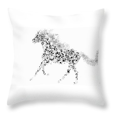 Throw Pillow featuring the drawing Ink Splattered Stallion by Nick Gustafson