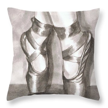 Throw Pillow featuring the painting Ink Wash En Pointe by Sarah Farren