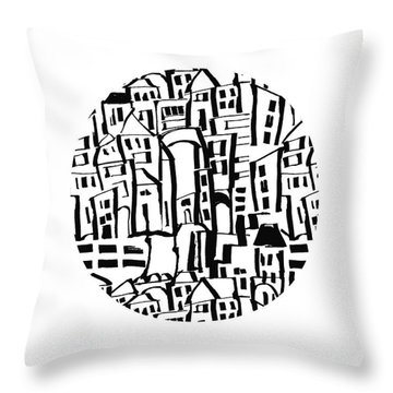Inky Village Sketch Ball- Art By Linda Woods Throw Pillow