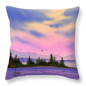 Throw Pillow featuring the painting Inland Sea Sunset by James Williamson