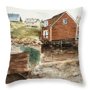 Inlet At Peggy's Cove Throw Pillow